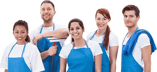 two men and three woman in blue apron smiling and holding mop and rag