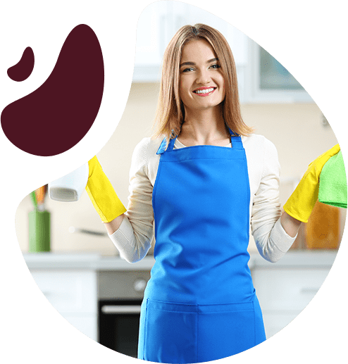 young woman standing with a bucket full of bottles and rags