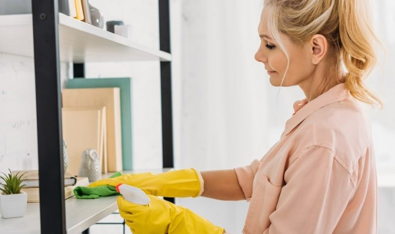 a woman cleaning her house