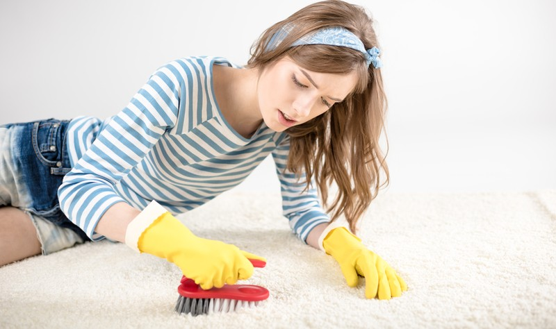 young woman laying on a carpet and dusting a carpet with a brush