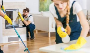 professionals are sprucing up a rental property